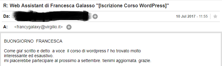 feedback corso wordpress in aula
