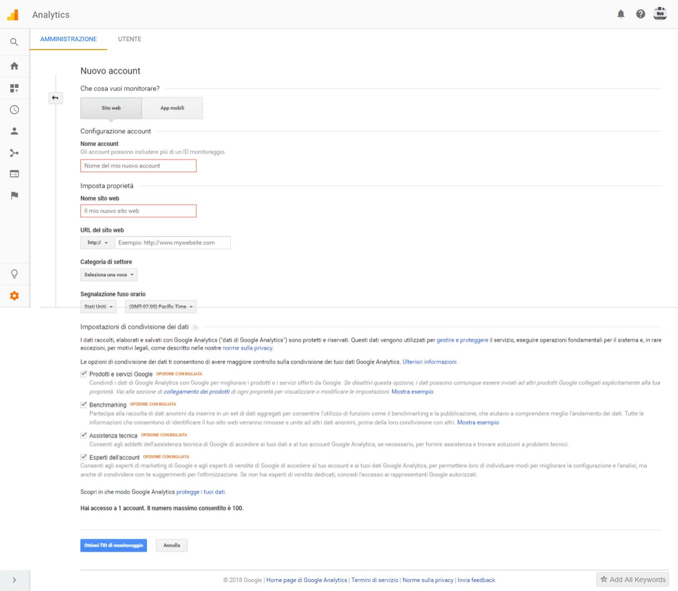 Come registrare il proprio sito web su Google Analytics